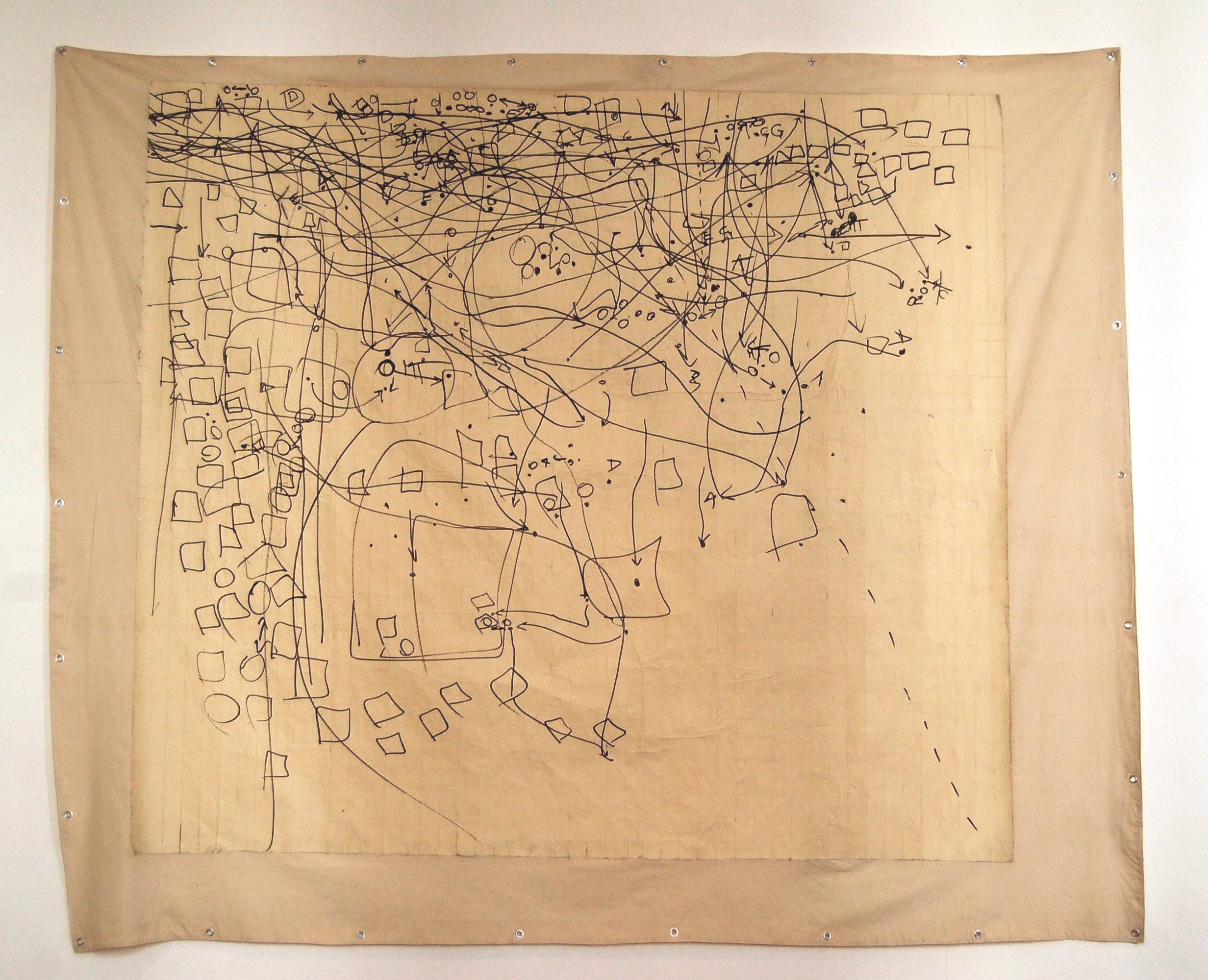 Giulia-Gallo-Remembering-Maps-Serie-pennarello-indelebile-nastro-adesivo-su-tela-250x300-cm-2011-Remembering-Maps-Series-marker-paper-tape-on-canvas-2