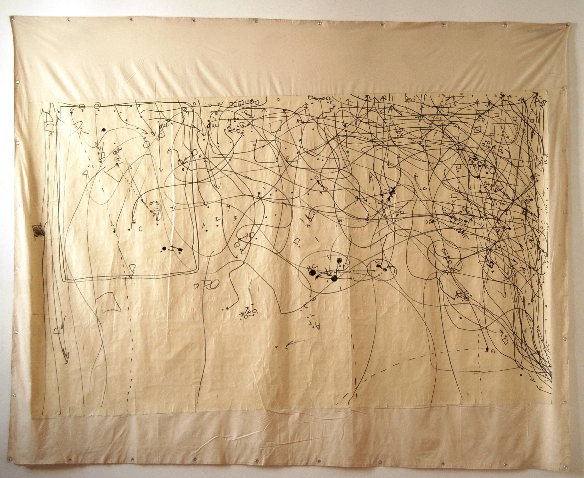 Giulia-Gallo-Remembering-Maps-Serie-pennarello-indelebile-nastro-adesivo-su-tela-250x300-cm-2011-Remembering-Maps-Series-marker-paper-tape-on-canvas